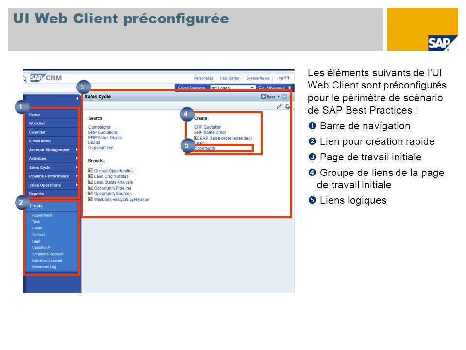 UI Web Client préconfigurée