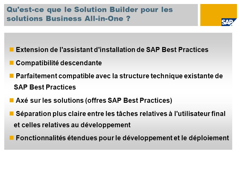 Qu est-ce que le Solution Builder pour les solutions Business All-in-One