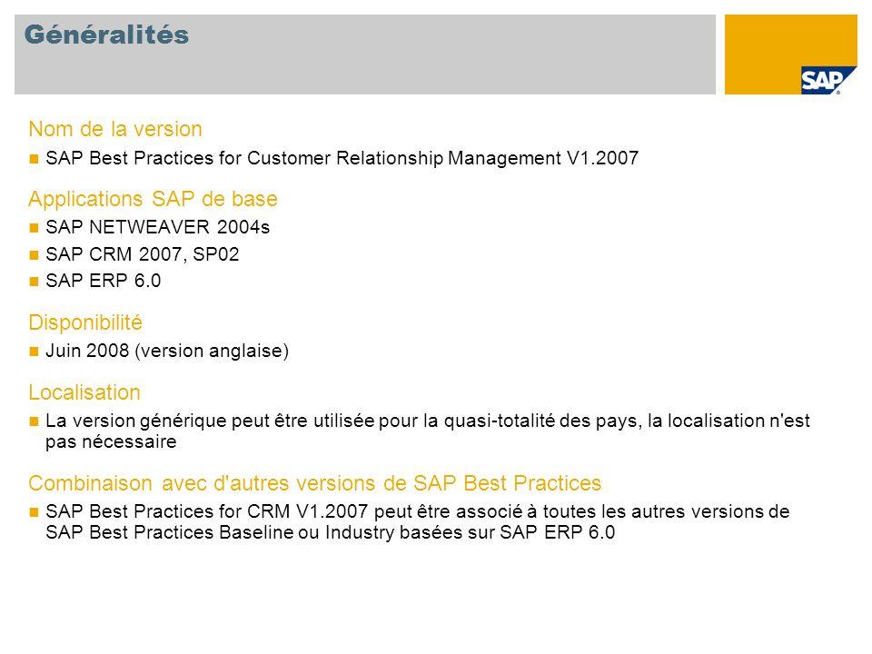 Généralités Nom de la version Applications SAP de base Disponibilité