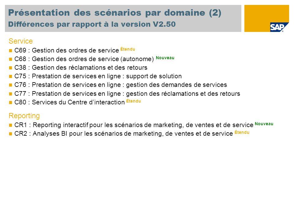 Présentation des scénarios par domaine (2) Différences par rapport à la version V2.50