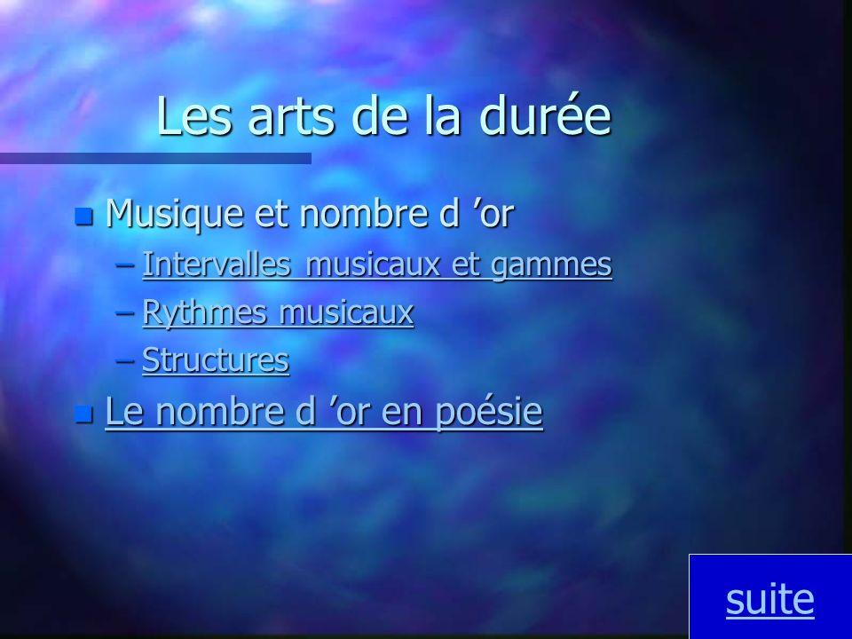 Les arts de la durée suite Musique et nombre d 'or