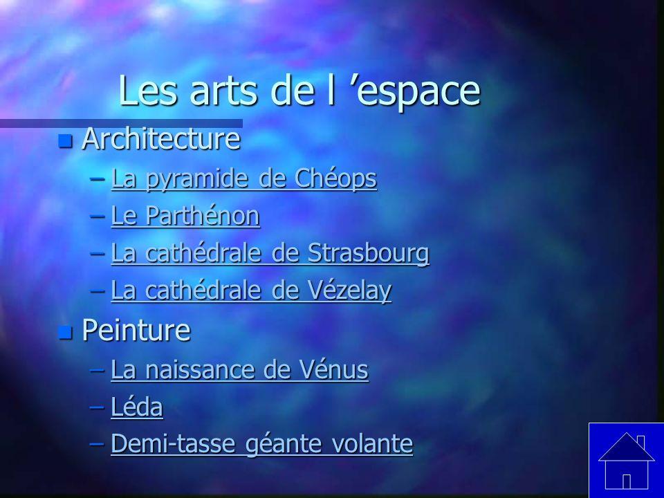 Les arts de l 'espace Architecture Peinture La pyramide de Chéops