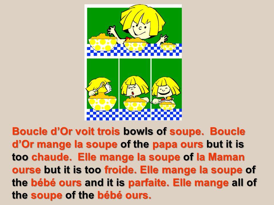 Boucle d'Or voit trois bowls of soupe