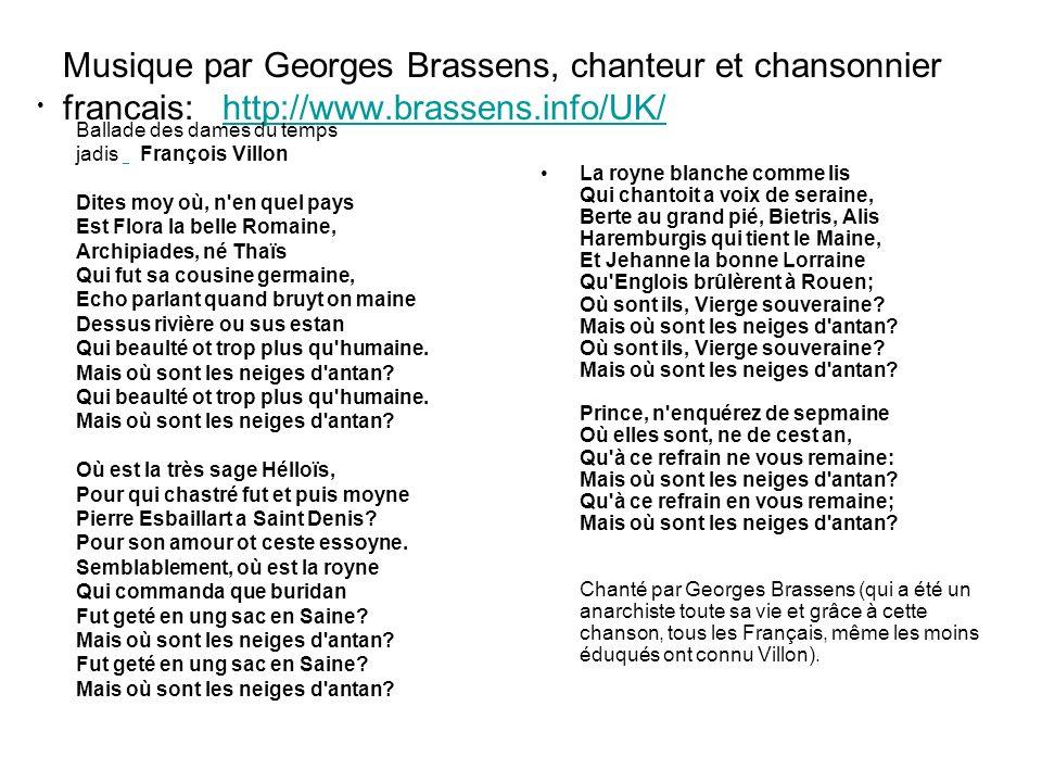 Musique par Georges Brassens, chanteur et chansonnier francais: http://www.brassens.info/UK/