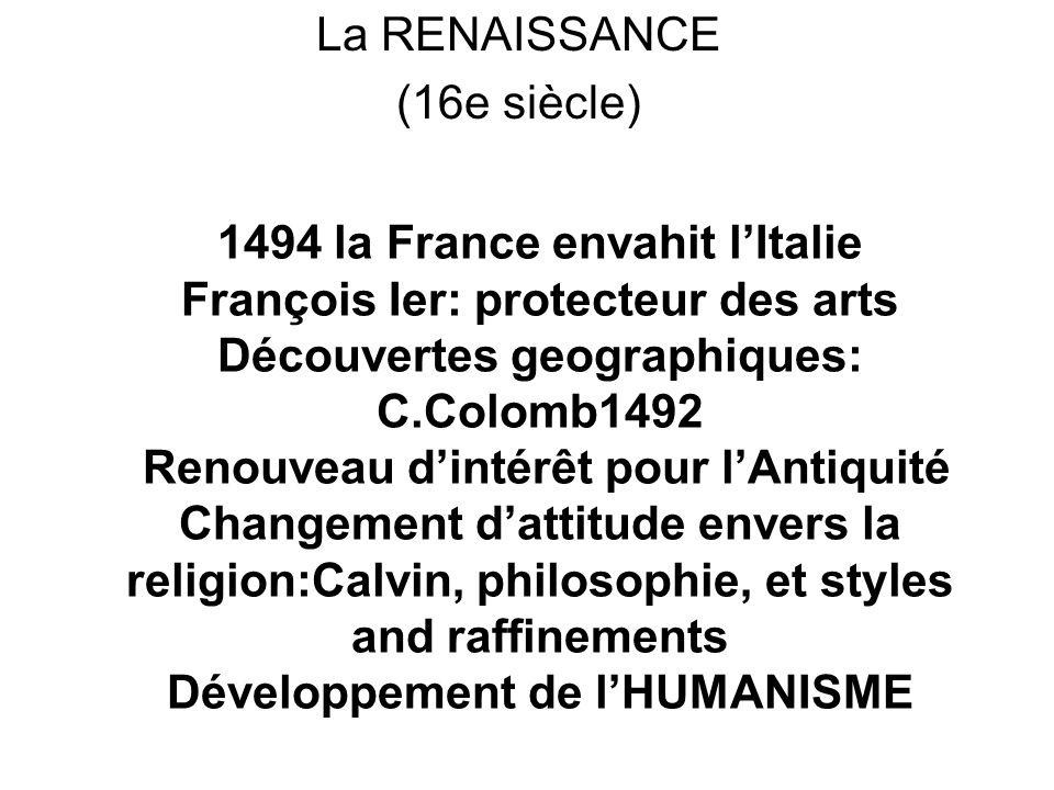 La RENAISSANCE (16e siècle)