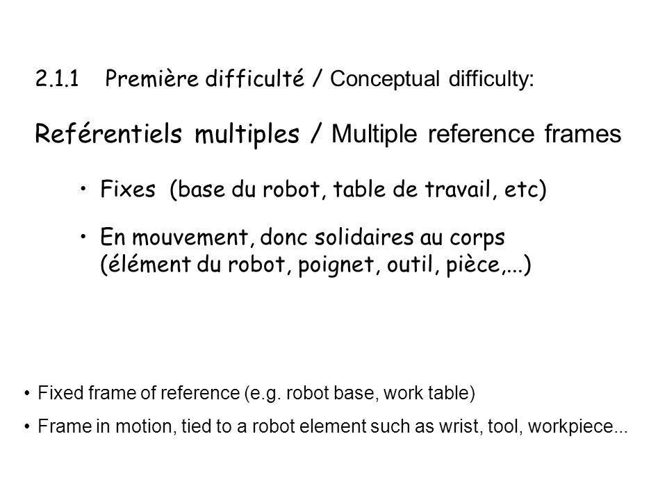 Reférentiels multiples / Multiple reference frames