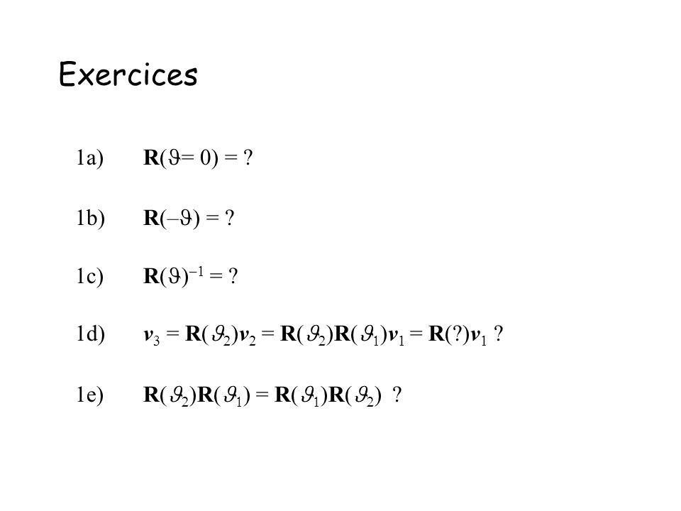 Exercices 1a) R(= 0) = 1b) R(–) = 1c) R()–1 =