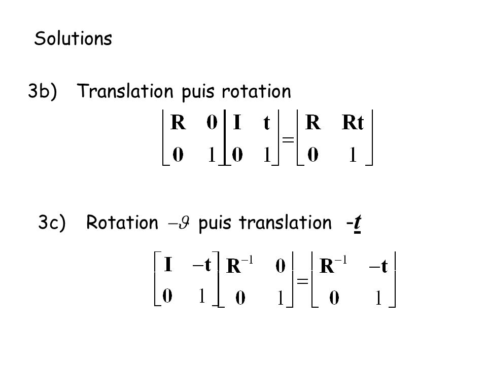Solutions 3b) Translation puis rotation 3c) Rotation -J puis translation -t