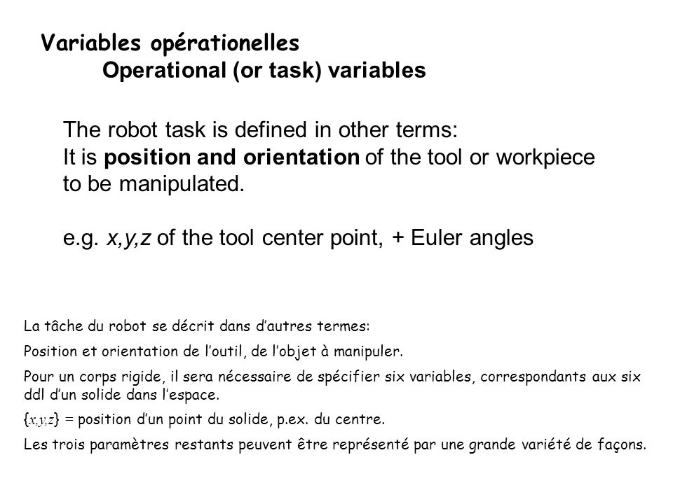 Variables opérationelles Operational (or task) variables