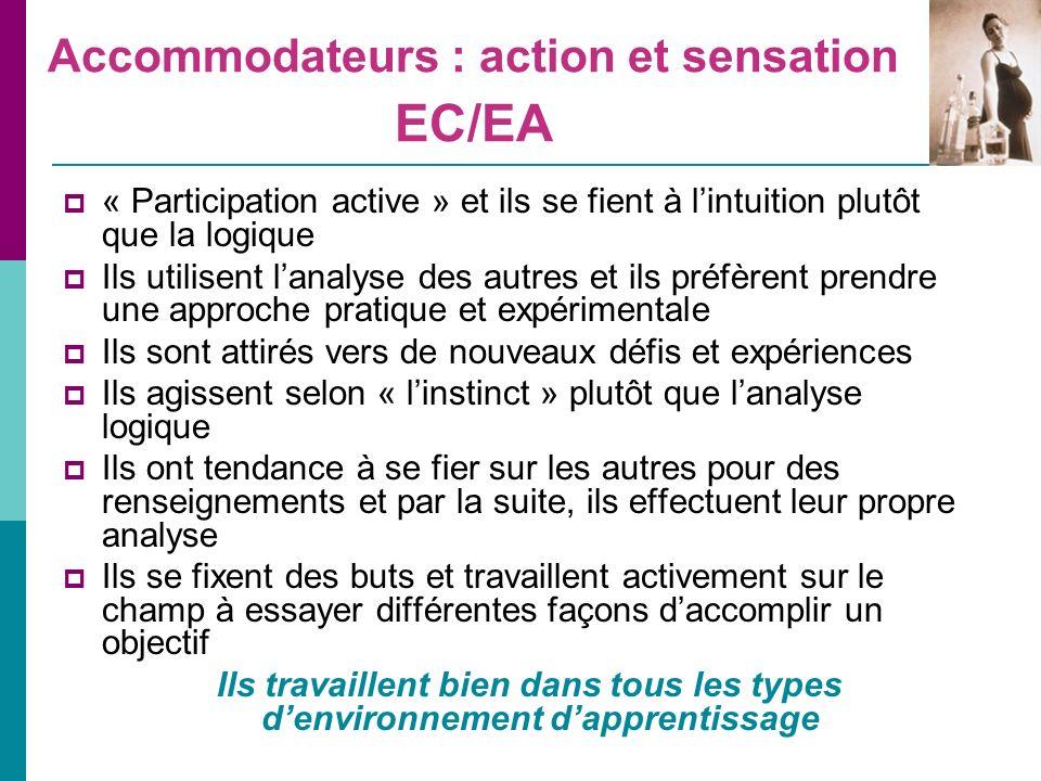 Accommodateurs : action et sensation EC/EA