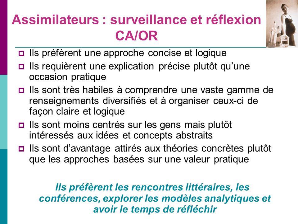 Assimilateurs : surveillance et réflexion CA/OR
