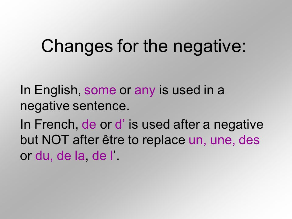 Changes for the negative:
