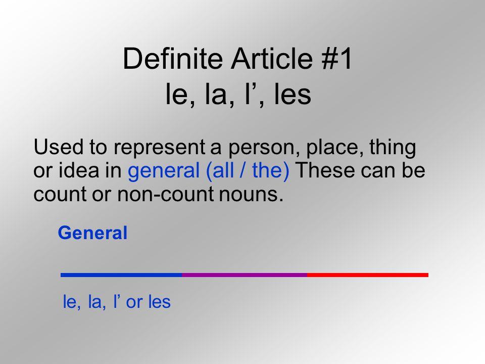 Definite Article #1 le, la, l', les