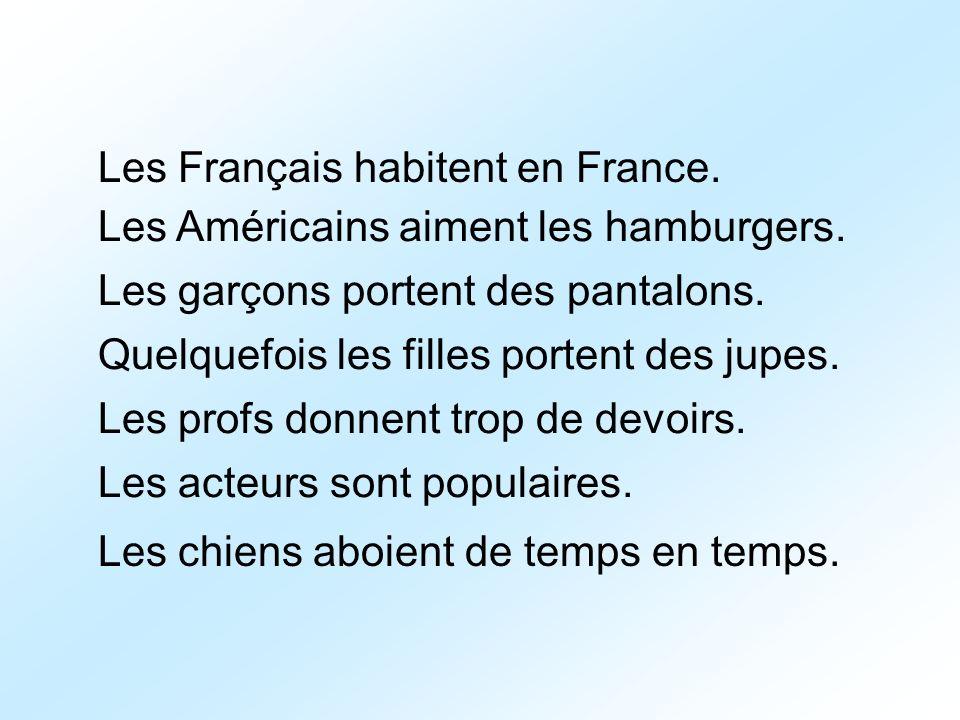 Les Français habitent en France.