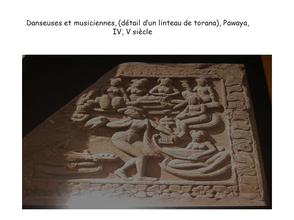 Danseuses et musiciennes, (détail d'un linteau de torana), Pawaya, IV, V siècle
