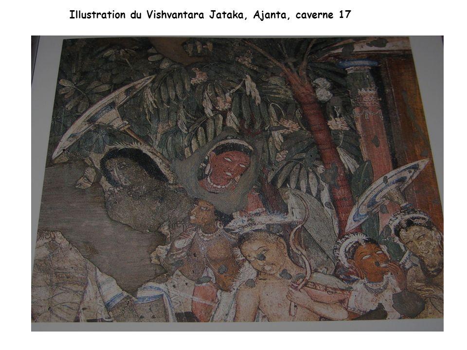 Illustration du Vishvantara Jataka, Ajanta, caverne 17