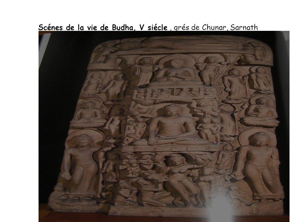 Scénes de la vie de Budha, V siécle , grés de Chunar, Sarnath