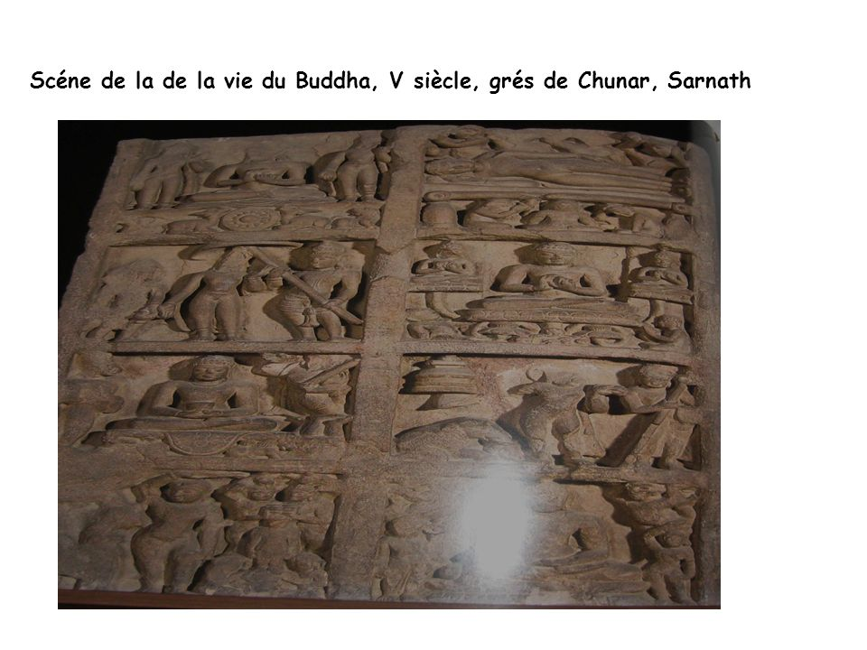 Scéne de la de la vie du Buddha, V siècle, grés de Chunar, Sarnath