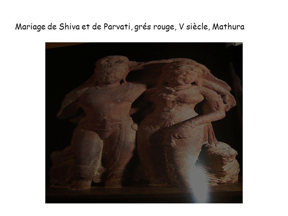 Mariage de Shiva et de Parvati, grés rouge, V siècle, Mathura