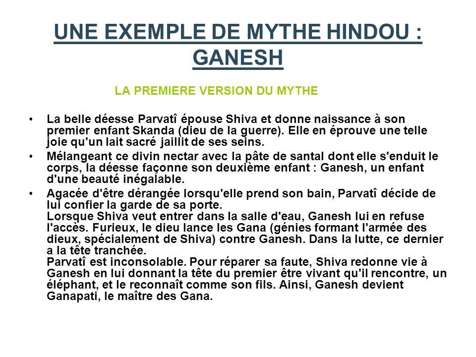 UNE EXEMPLE DE MYTHE HINDOU : GANESH