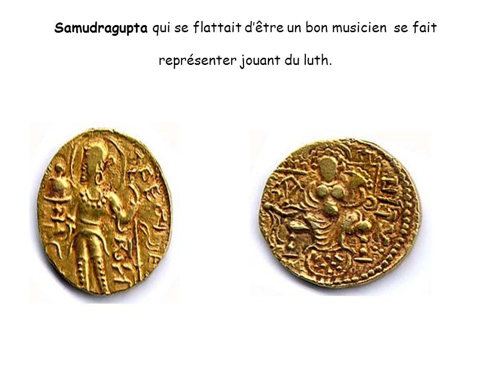 Samudragupta qui se flattait d'être un bon musicien se fait représenter jouant du luth.