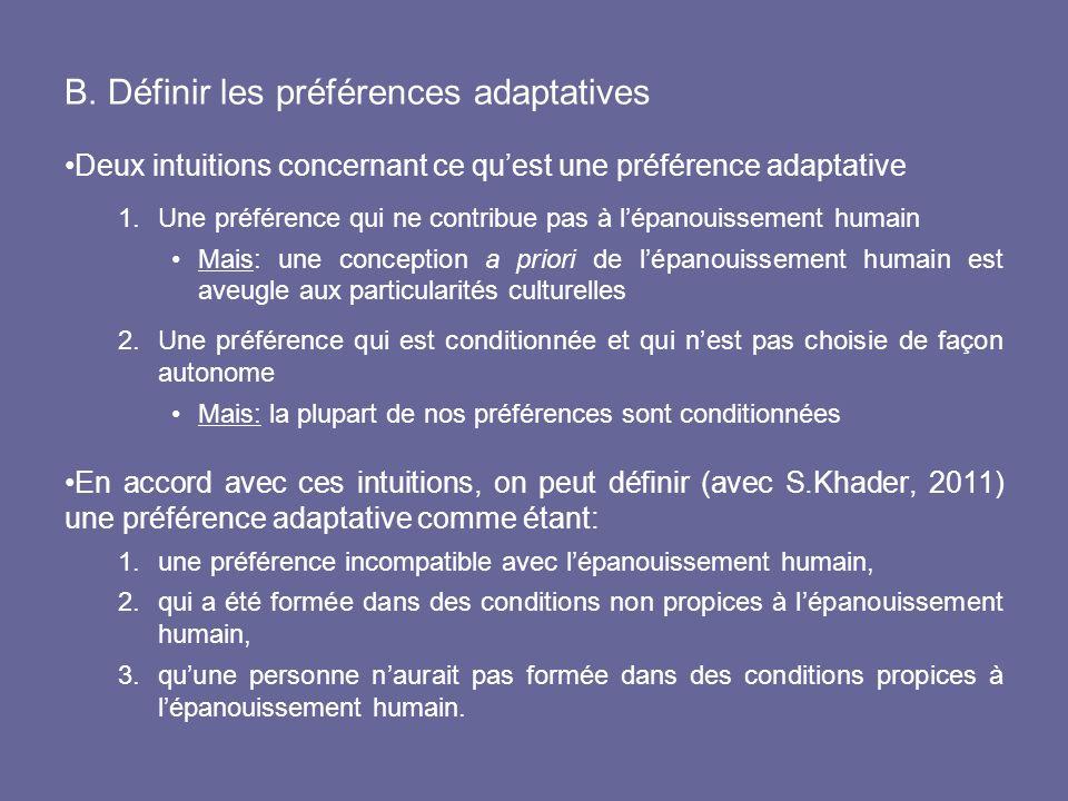 B. Définir les préférences adaptatives