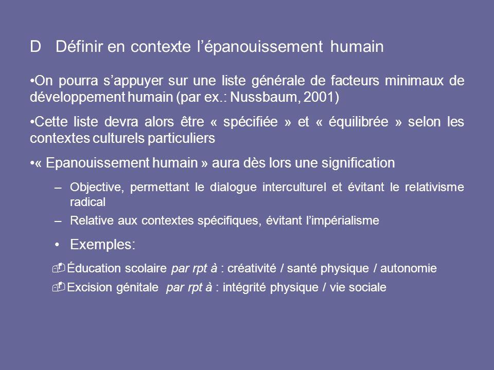 D Définir en contexte l'épanouissement humain