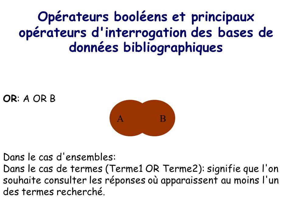 Opérateurs booléens et principaux opérateurs d interrogation des bases de données bibliographiques
