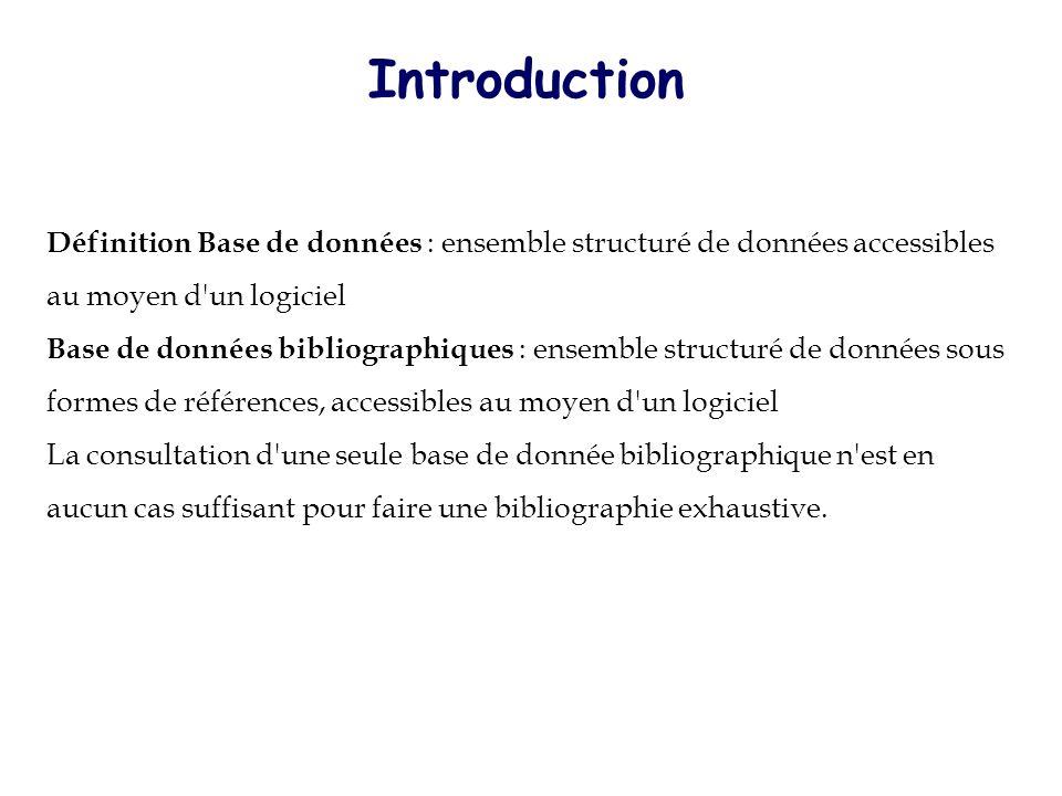 Introduction Définition Base de données : ensemble structuré de données accessibles au moyen d un logiciel.