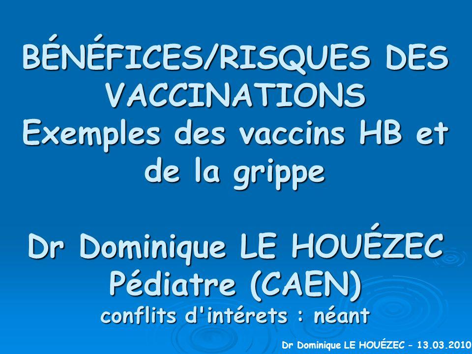 BÉNÉFICES/RISQUES DES VACCINATIONS Exemples des vaccins HB et de la grippe Dr Dominique LE HOUÉZEC Pédiatre (CAEN) conflits d intérets : néant