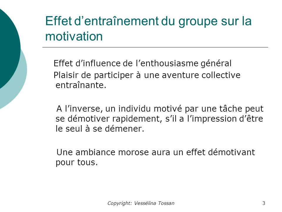 Effet d'entraînement du groupe sur la motivation