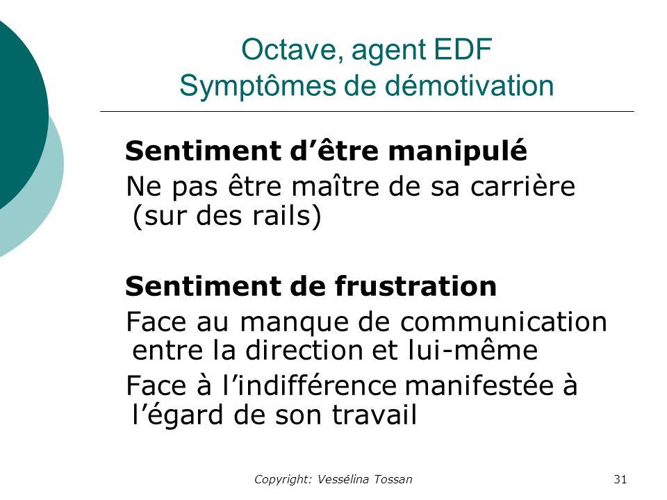 Octave, agent EDF Symptômes de démotivation