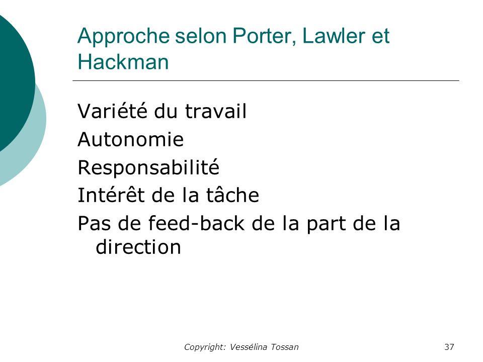 Approche selon Porter, Lawler et Hackman
