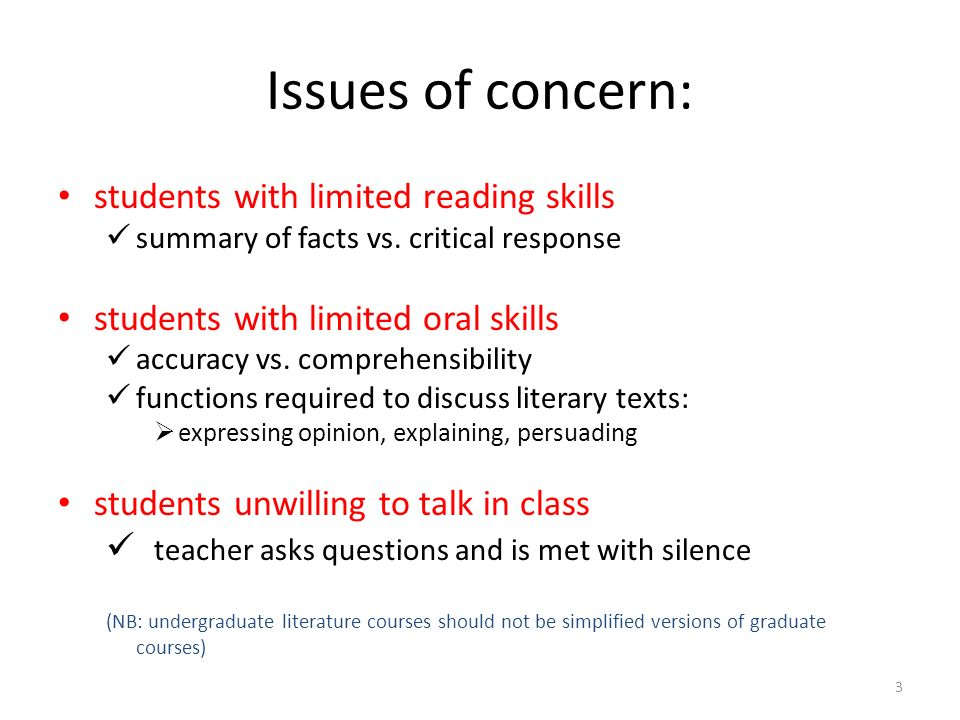 Issues of concern: students with limited reading skills