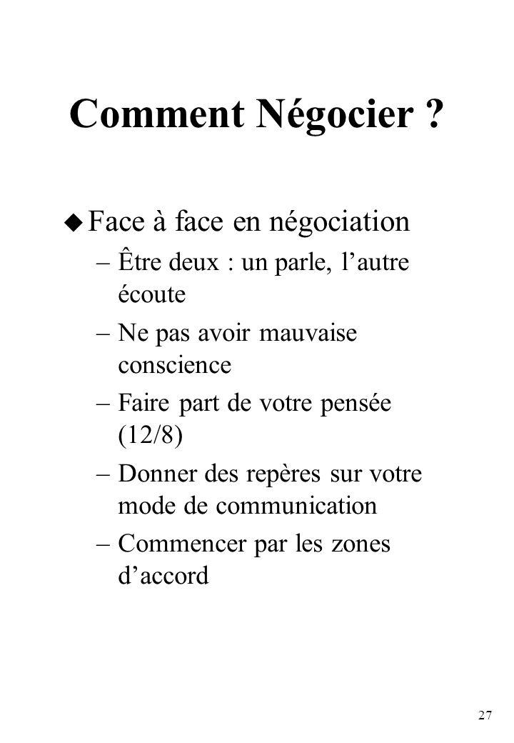 Comment Négocier Face à face en négociation