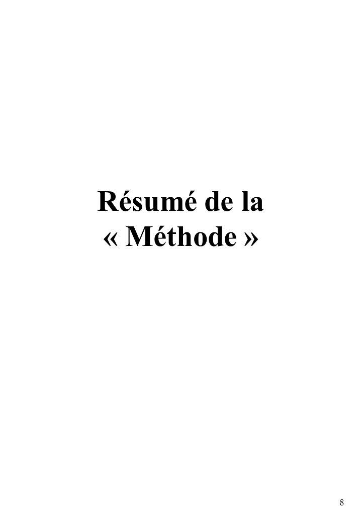 Résumé de la « Méthode »