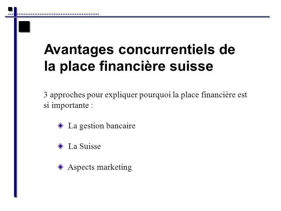 Avantages concurrentiels de la place financière suisse