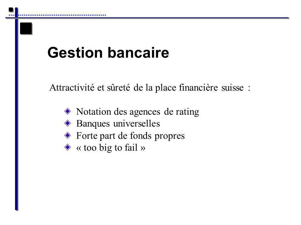 Gestion bancaire Attractivité et sûreté de la place financière suisse : Notation des agences de rating.