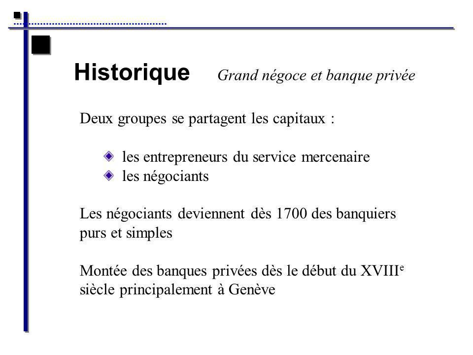 Historique Grand négoce et banque privée