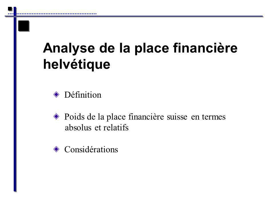 Analyse de la place financière helvétique