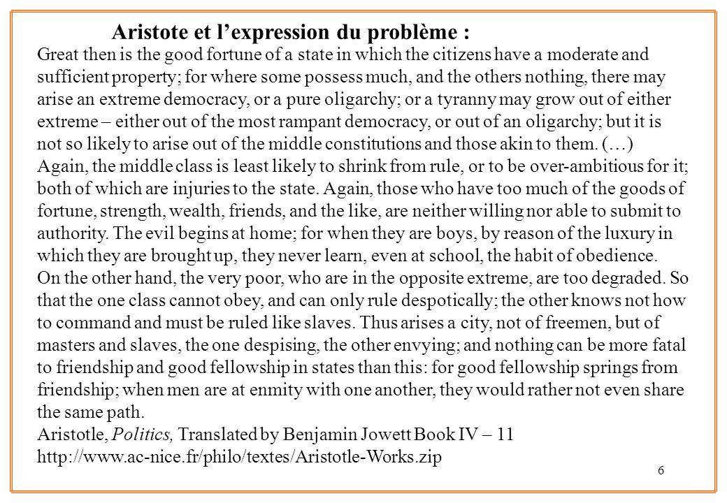 Aristote et l'expression du problème :