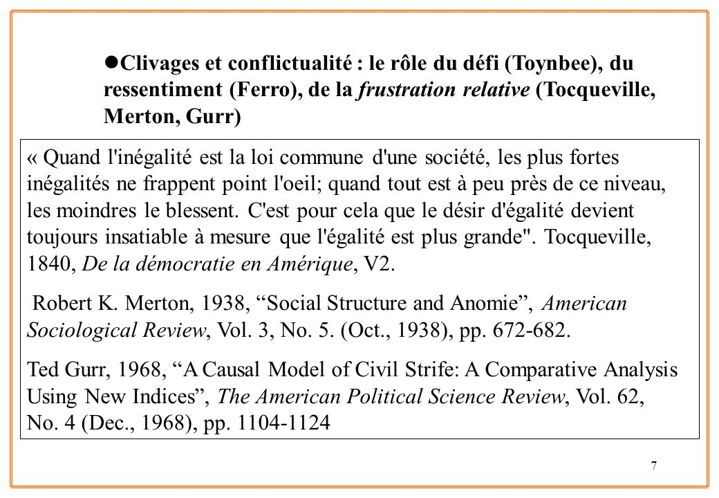 Clivages et conflictualité : le rôle du défi (Toynbee), du ressentiment (Ferro), de la frustration relative (Tocqueville, Merton, Gurr)