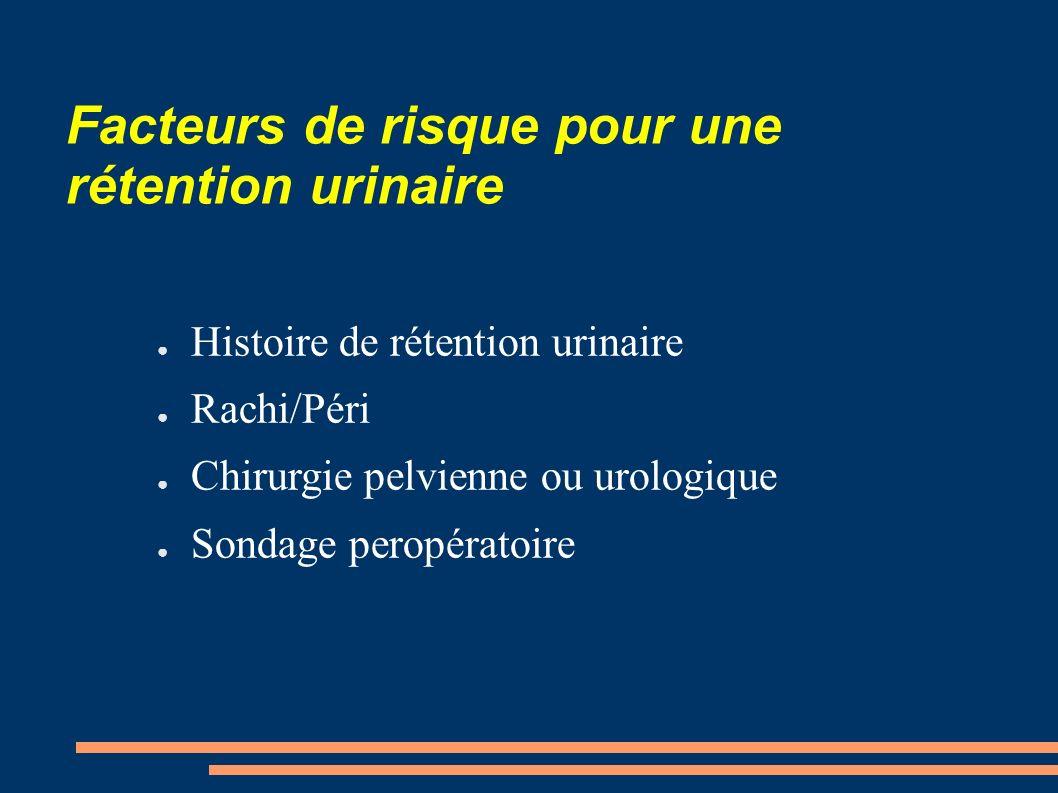 Facteurs de risque pour une rétention urinaire