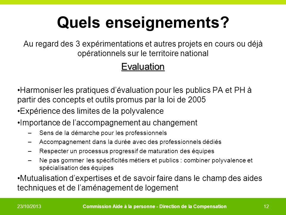 Quels enseignements Evaluation