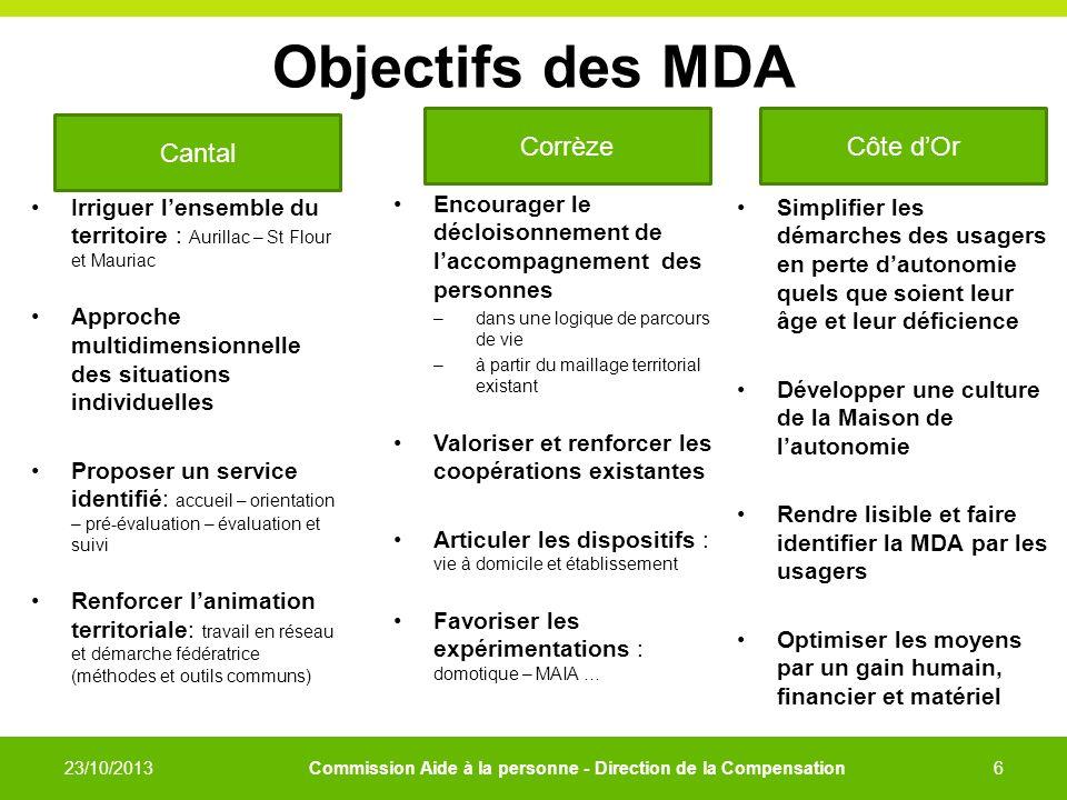 Objectifs des MDA Cantal Corrèze Côte d'Or
