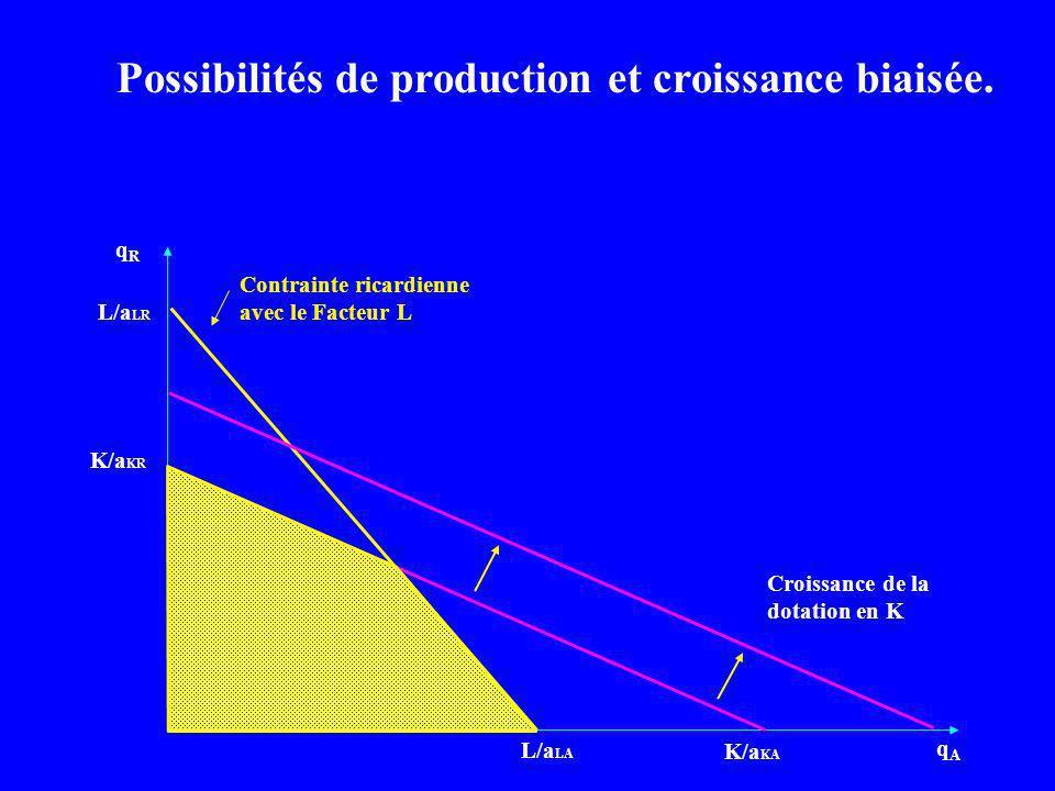Possibilités de production et croissance biaisée.