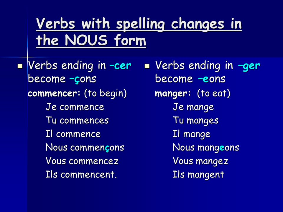 Verbs with spelling changes in the NOUS form