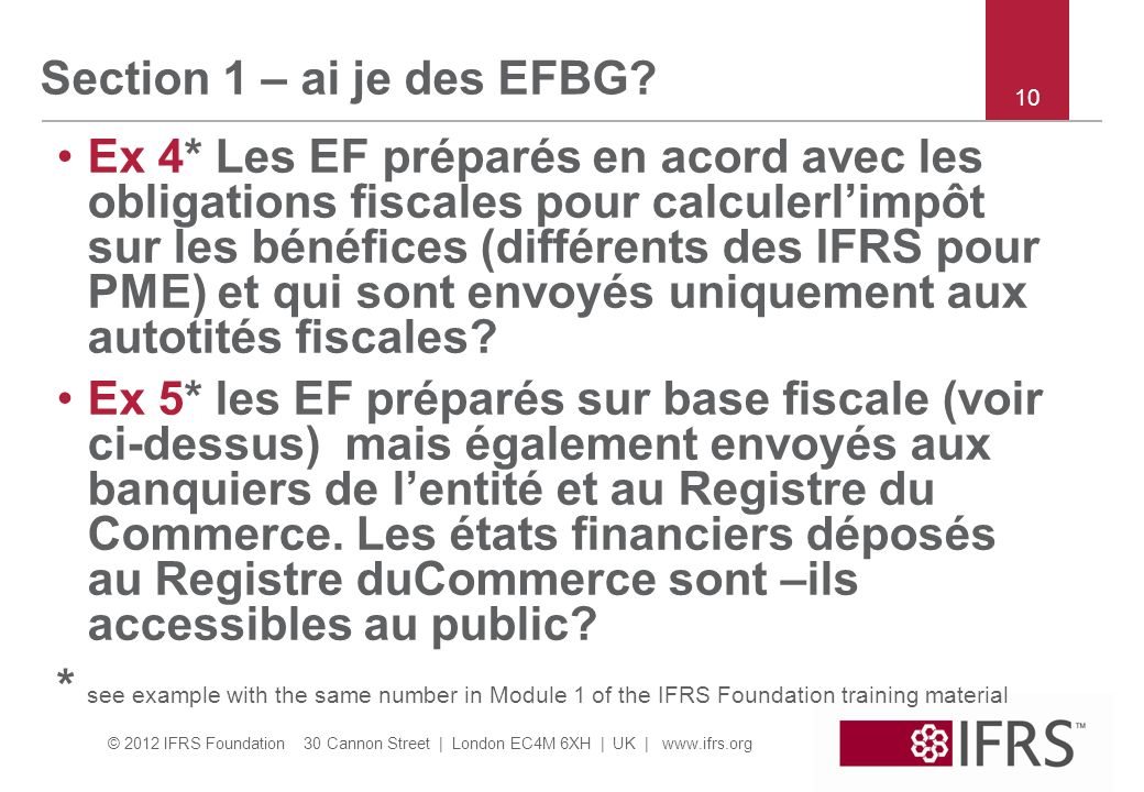 Section 1 – ai je des EFBG 10.
