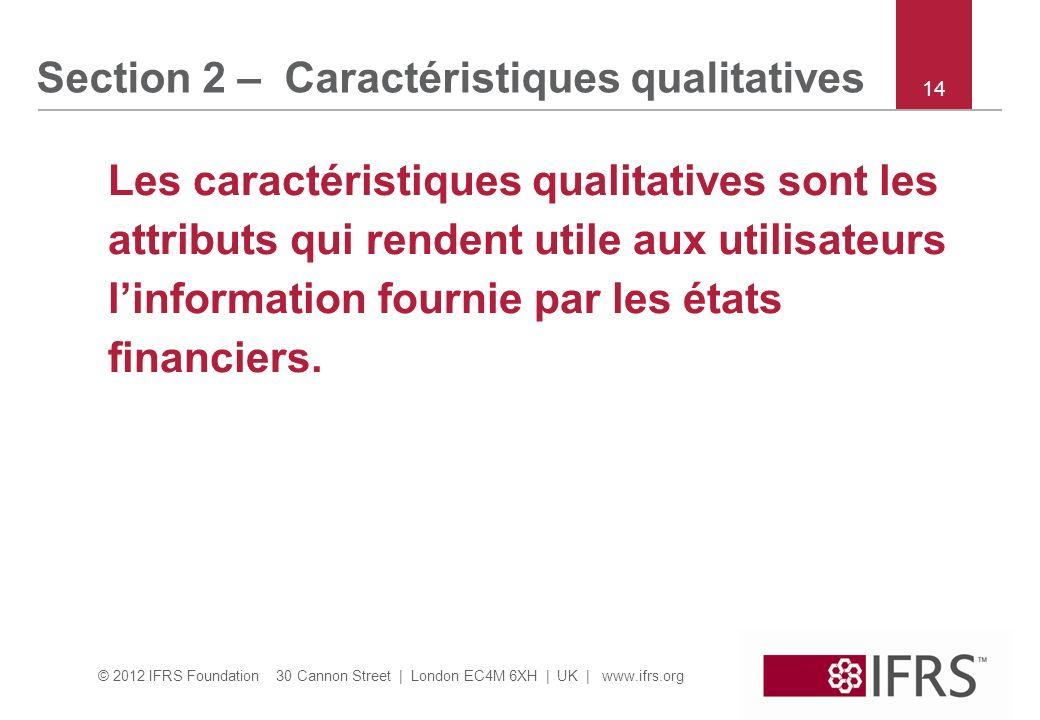 Section 2 – Caractéristiques qualitatives