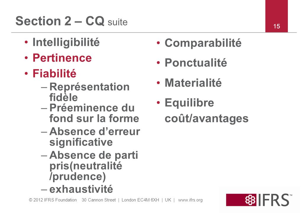 Section 2 – CQ suite Intelligibilité Comparabilité Pertinence